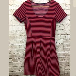 Madewell 8 Gallerist Ponte Dress Red And Navy